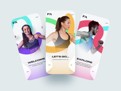 Fitness UI Concept ios sports gym muzli shot design concept ui adobe xd xd colorful trendy inspiration clean onboarding app fitness