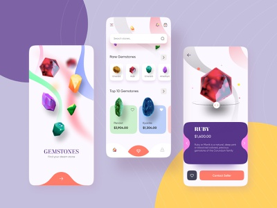 Gemstone Store UI ecommerce shopping concept ui shot blender figma muzli trendy dark light modern jewelry jewellery gemstone