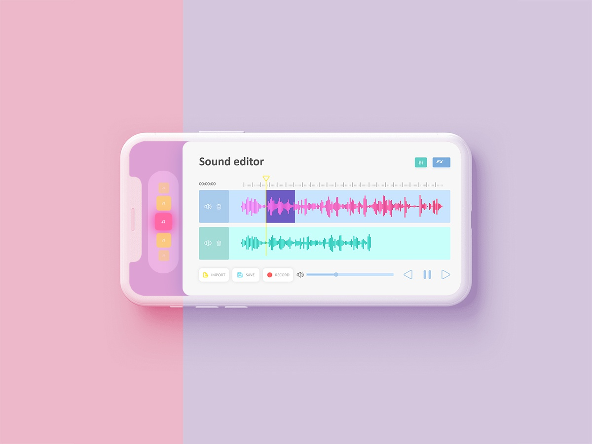Mini Sound editor app design ios app ios ui design ux soundwave sound editor sound userinterface pink photoshop shot concept app colorful app ui design ui