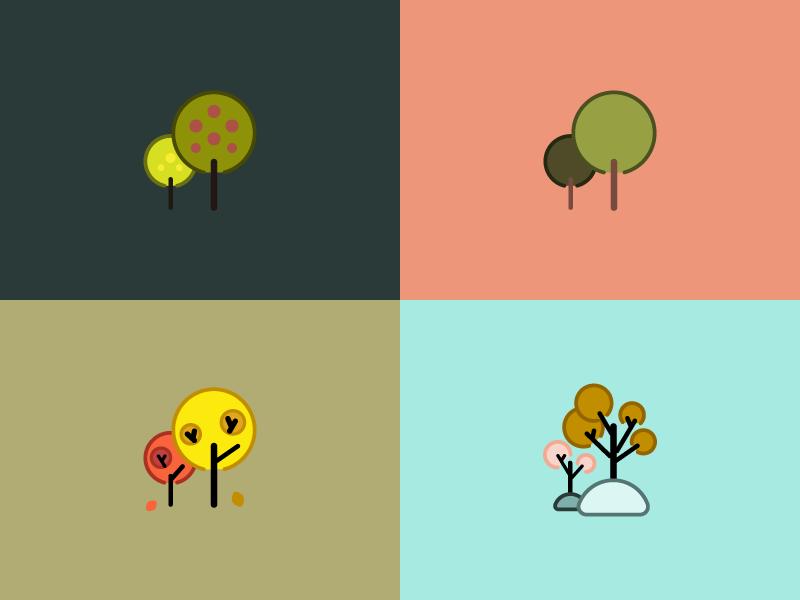 Strange Seasons illustration geometric simple vector trees fall winter summer spring