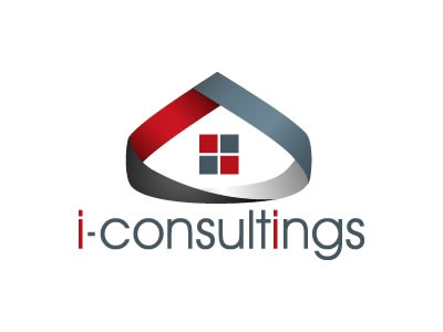Iconsultings logo design logo design rent immobilier location consulting real estate blue red black windows