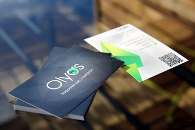 Olyos - Visit Card origami visit card business black white paper qrcode logo design
