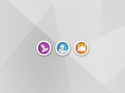 Origami Icons style origami paper design icon icons birds cloud bird set blue orange violet