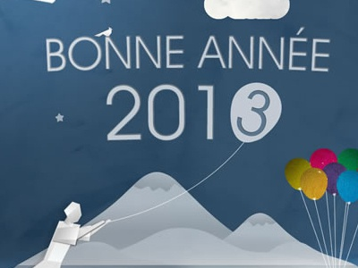 Ecard Olybop Olyos 2013  ecard 2013 origami fireworks design graphisme balloon happy new year bonne année