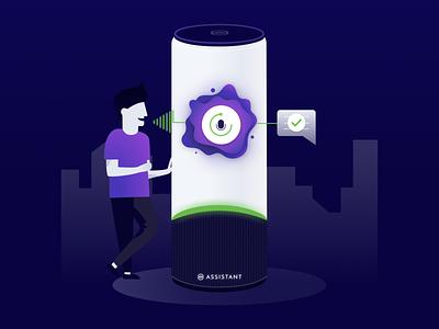 Smart assistant process 🛸 task manager commands voice speaker helper smart artificial intelligence ai assistant smart home vector illustration ui design 2d