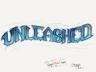 Unleashed on Paper paper fiftythree lettering blue design logo