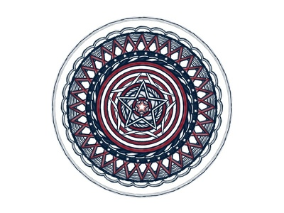 Captain American doily star america circle ipad kaleidoscope logo concepts red blue