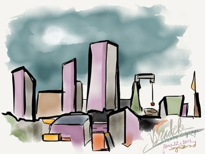 Bathroom Cityscape abstract city skyline skyscrapers buildings madewithpaper