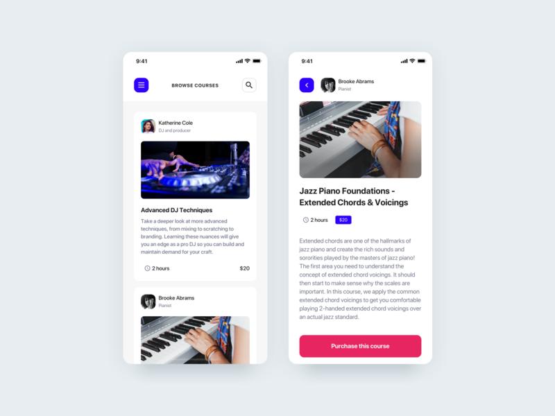 Web app - eLearning in music industry community web app mobile app elearning music course app mobile search education design ux ui web