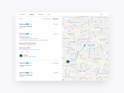 Track & trace for bike delivery status web app filter search tracking delivery map web design app ux ui