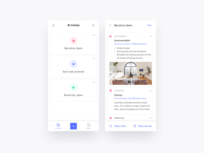 App concept to easily save & share tips from previous trips icons barcelona cities mobile app mobile bottom bar add share travel design ui ux app