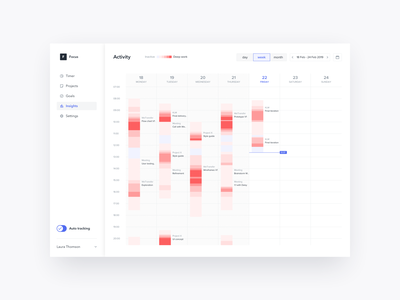 Concept for time tracking app that shows periods of deep work time side nav deep work focus timer week calendar time tracking time tracker tracker modal design ux ui app web