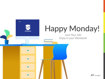 Workstation Illustration   Happy Monday