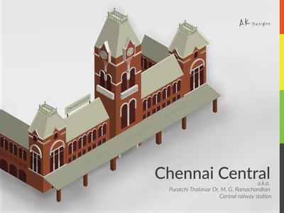Chennai Central Isometric Illustration