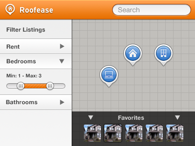 Roofease map pins slider orange blue search