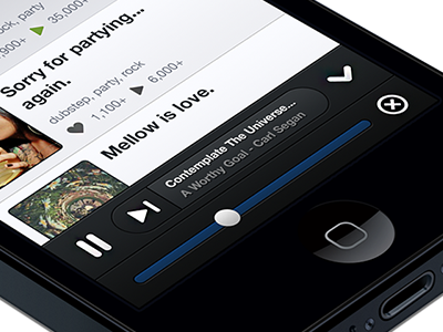8tracks Clik (old) 8tracks iphone ui music player volume clik
