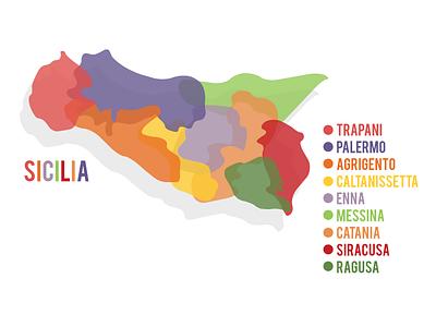 Sicilia Map colorful illustrator vector italian italy sicilia sicily map