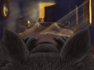 Wolf digital illustration childrens book digital art