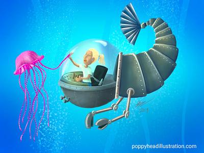 Mermaid Girl childrens book sea robots illustration digital painting