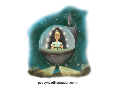 Mermaid Girl Searching series art childrens illustration childrens book illustration digital art