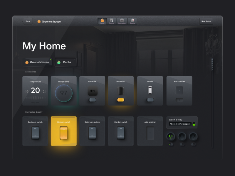Skeuomorphic Home Dashboard simple simplicity interaction microinteraction stats indoor home ui home app product design vector graphic dark mode dark app skeuomorphism skeuomorphic neumorphism neumorphic