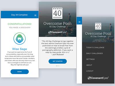 Overcome Porn: 40 Day Challenge behavior change mobile ux ui app ios app
