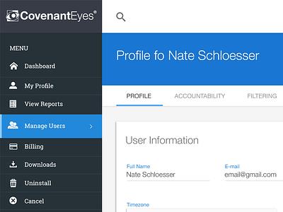 Account Management UI web app responsive design ux admin ui