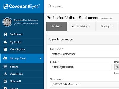 Account Management UI — Blue web app ux ui responsive design admin