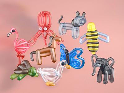 More balloon animals in C4D c4d animals illustrated animals balloons cinema 4d 3d graphics 3d art illustration