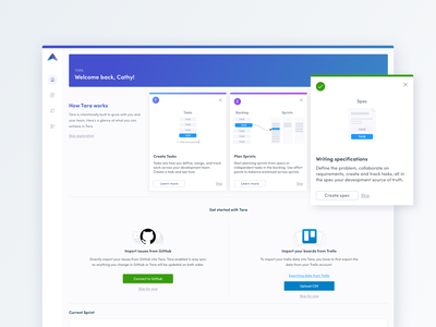 Onboarding Dashboard ux app ui typography clean call to action onboarding empty state home trello github analytics dashboard product management platform saas