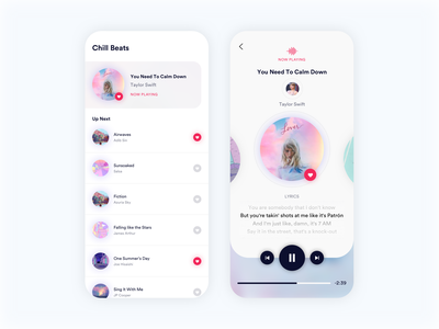 Minimalist Music Player clean mobile app design cards card slider players interface uidesign player lyrics ux ui artist tracks song album music listen app
