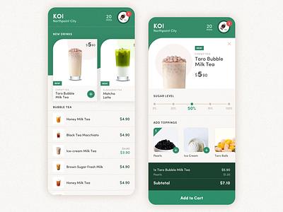 Bubble Tea Delivery beverage latte checkout ecommerce order delivery food bubble tea typography ux listing app mobile ui