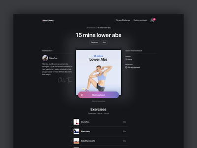 The Spotify of Fitness typography web app web spotify app ex ui exercise dark theme dark app dark mode dark workout fitness