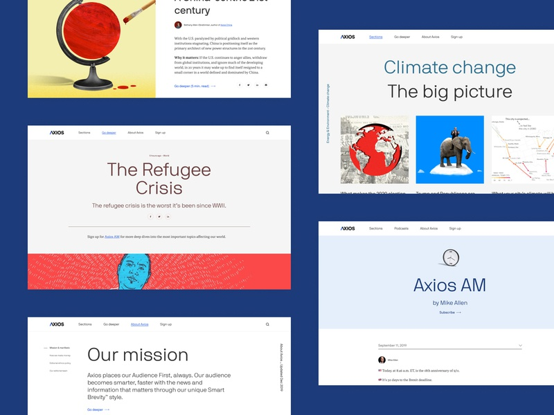 Axios Redesign refugees newsletter editorial news climate change china