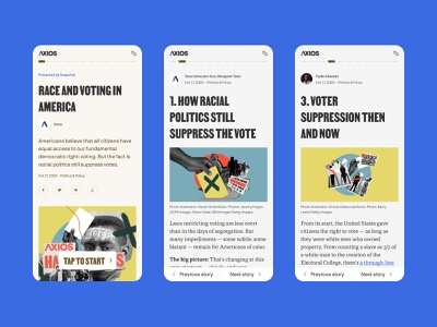 "Axios ""Hard Truths"" voting journalism america race storytelling mobile news"