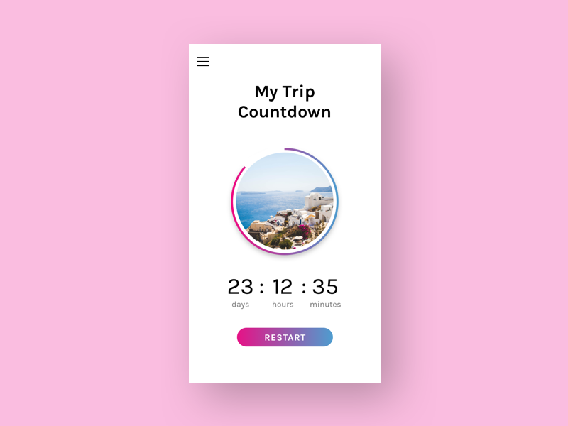 Daily UI #014 - Countdown timer daily ui timer countdown mobile ui ux vacation greece trip