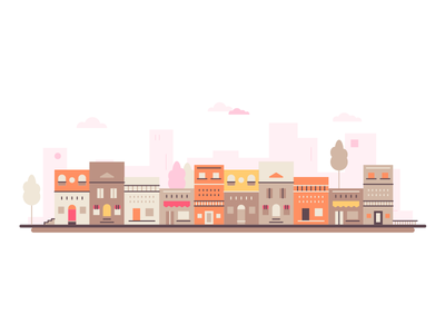 Small Town Illustration townscape street illustration small business town