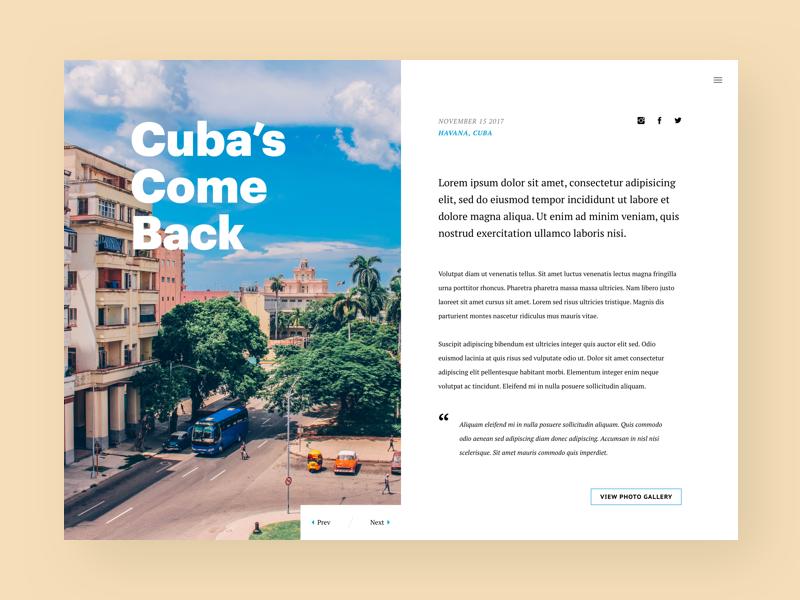 Daily UI #035 - Blog Post havana share magazine travel cuba writing post blog