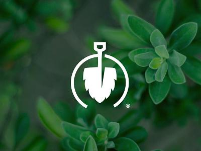 Landscape Mark leave shovel gardening landscaping icon logo branding