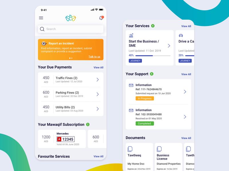 Tamm App abudhabi online app redesign dashboard minimal android ios sketch digitalservices services digital interface mobile ux app uidesign design ui