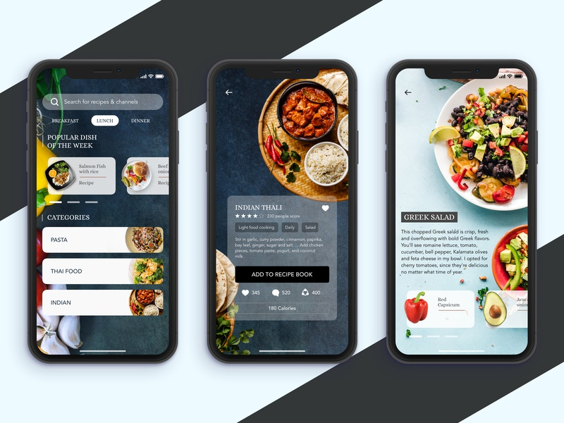 Healthy Food Recipe App interface design interface graphicdesign mobile web iphonex sketchapp user experience userinterface ios app concept uidesign design ui app recipe food app