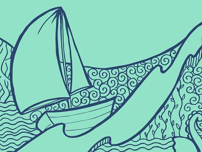 Ahoy! doodle illustration ship