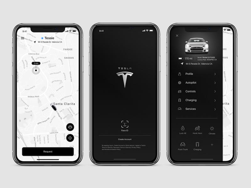 Tesla Autopilot: Level 5 Autonomous Car Control App map ui tesla autonomous car concept car icon map user interaction user interface ux ui uiux