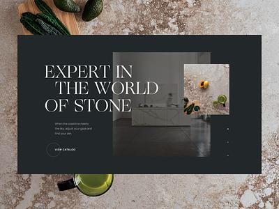 E-commerce Stone UI composition typography slider stone catalog ecommerce main page webdesig website web ui