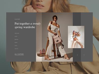 E-commerce UI. Modoza website. Concept concept gallery slider transition typography composition clothes ecommerce website webdesign uidesign uiux ui