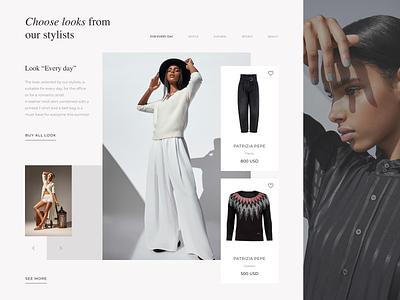 Looks screen. UI clothes e-commerce design e-commerce shop e-commerce webdesign slider website typography composition design web ui