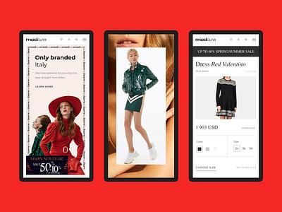 Modoza. E-commerce. Mobile version animation webdesign app adaptation mobile website typography composition design e-commerce ux ui