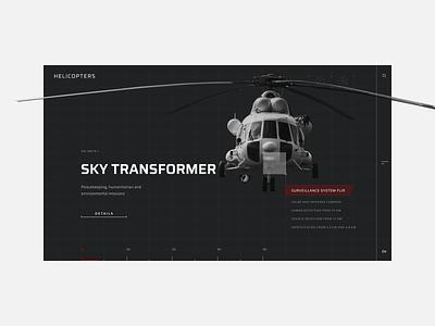 Helicopters. Sky transformer detection websitedevelopment tips fullscreen image sidebar uiux typography composition website dailyinspiration designinspiration webdesign technology tech design helicopters