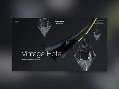 Vintage Hotel art 3d concept crystal flower contrast hotel interface design interection design animation ui web