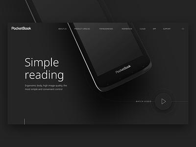PocketBook Main page minimalism pocketbook composition typography design web ui